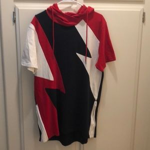 Red White and Blue T-shirt Hoodie Dress